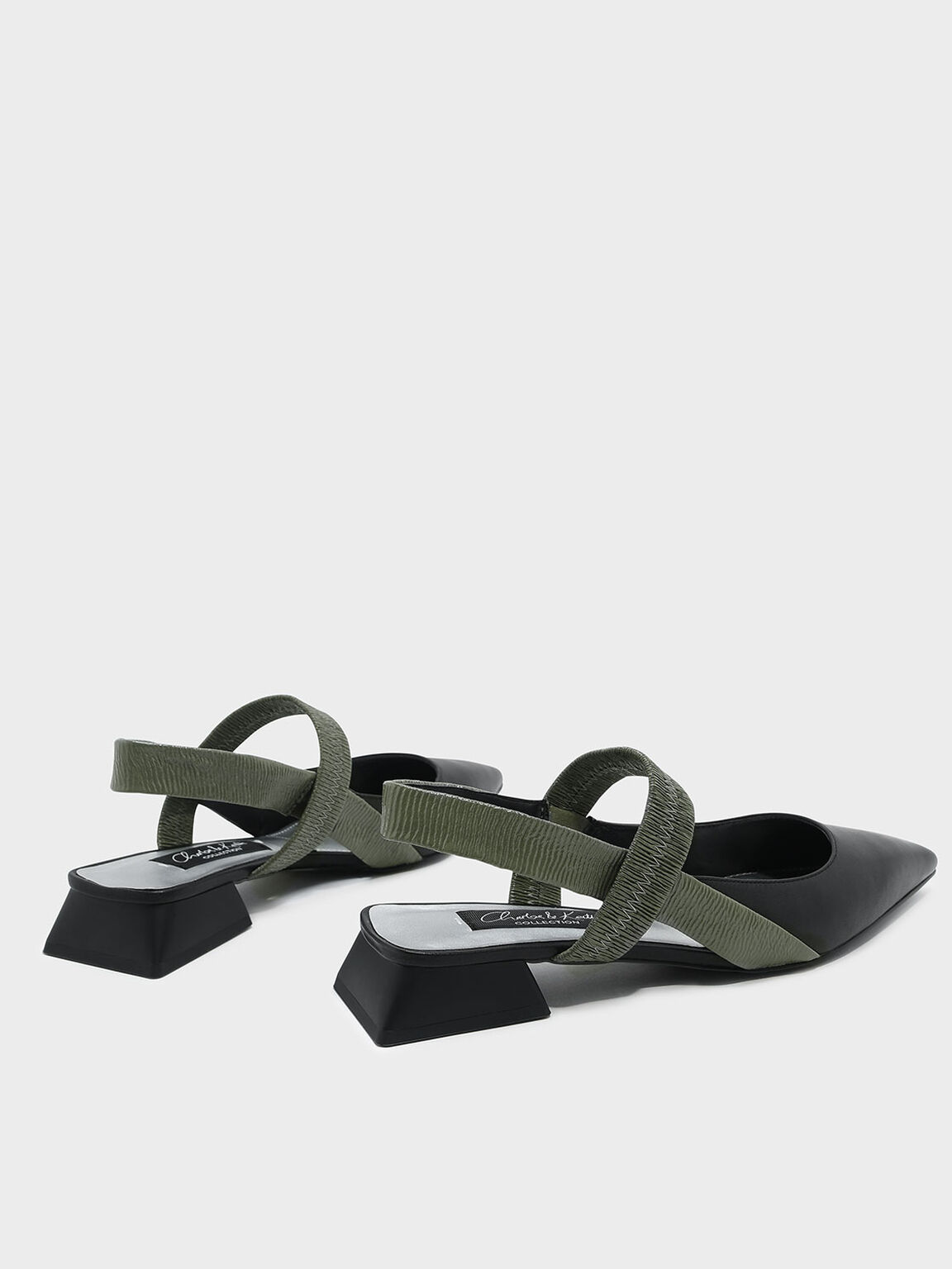 Mary Jane Leather Slingback Sandals, Green, hi-res