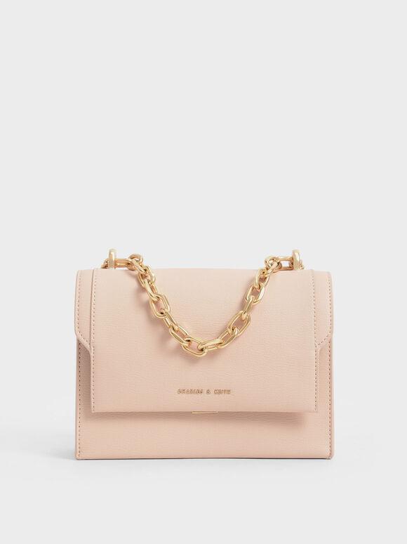 鍊條掀蓋斜背包, 淺粉色, hi-res