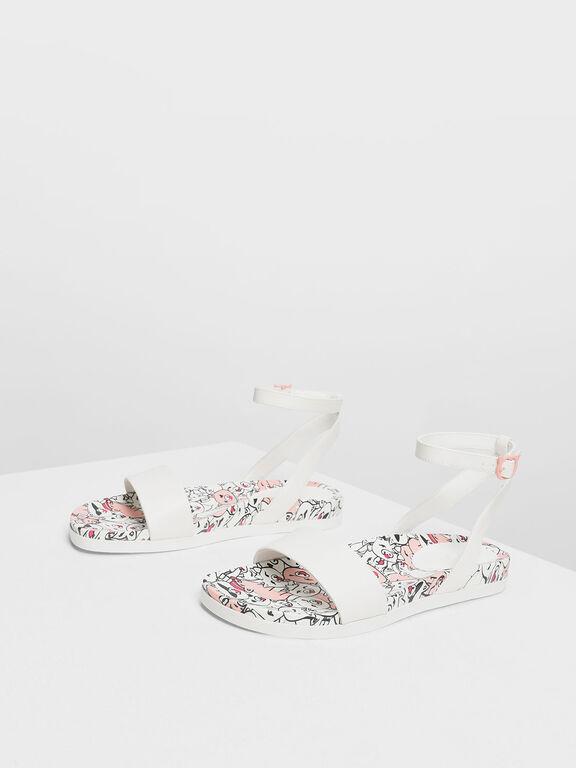 Zodiac Pig Sandals, White
