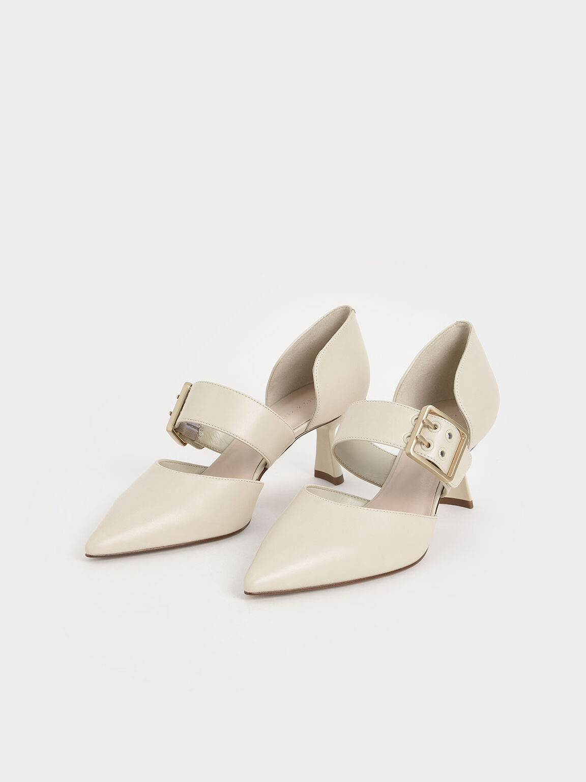 Oversized Buckle Pointed Toe Pumps, Chalk, hi-res