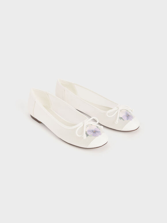 Mesh & Floral Print Bow Ballerinas, White, hi-res