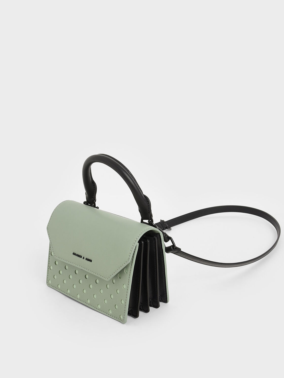 Laser-Cut Small Top Handle Bag, Sage Green, hi-res