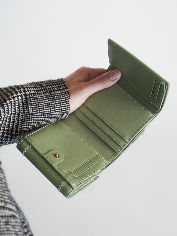 Stitch Trim Turn Lock Wallet, Sage Green, hi-res