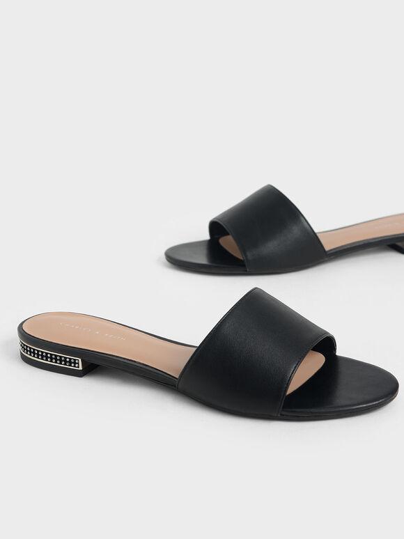 碎鑽跟拖鞋, 黑色, hi-res