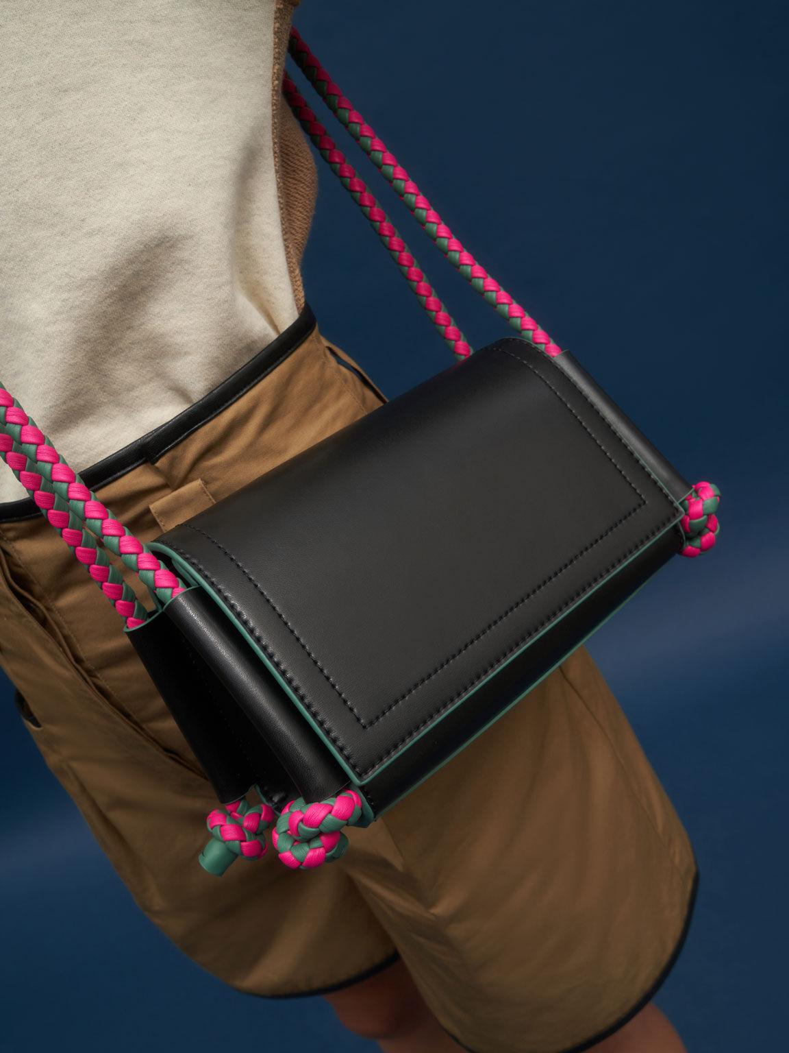 編織繩斜背包, 黑色, hi-res