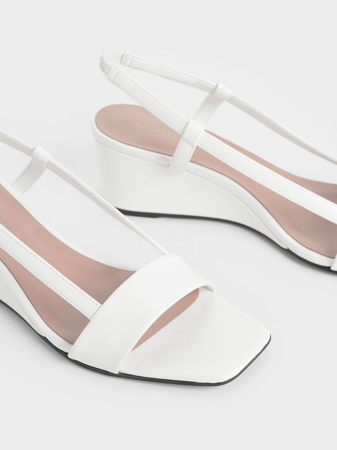 Square Toe Slingback Wedges, White, hi-res