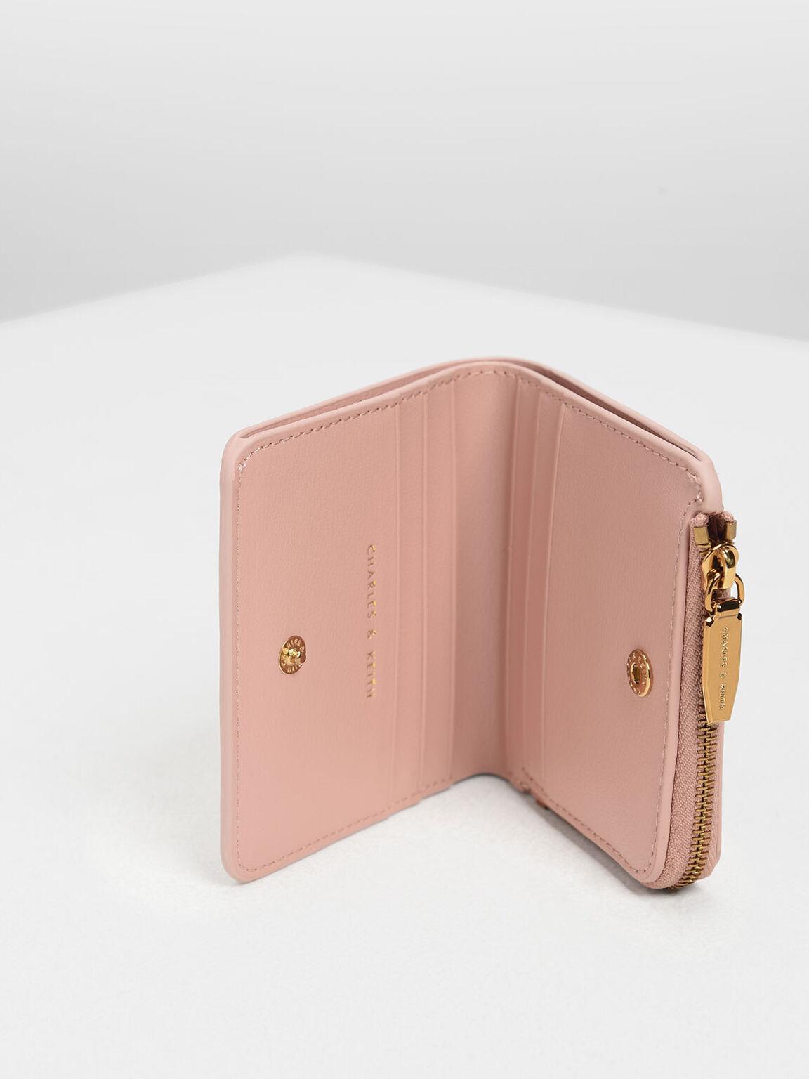 拉鍊式短夾, 粉紅色, hi-res