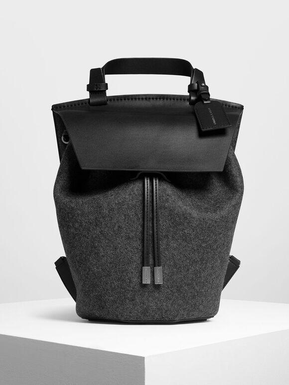 Classic Drawstring Backpack, Black, hi-res