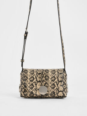 Snake Print Metal Accent Mini Crossbody Bag, Beige
