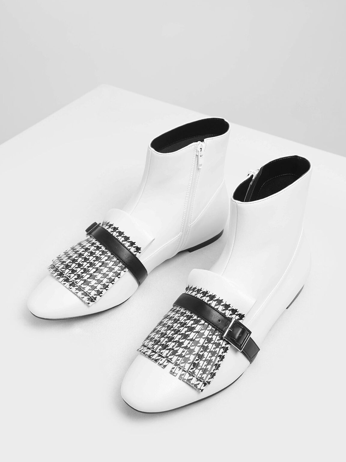 Houndstooth Printed Fringe Flat Ankle Boots, White, hi-res