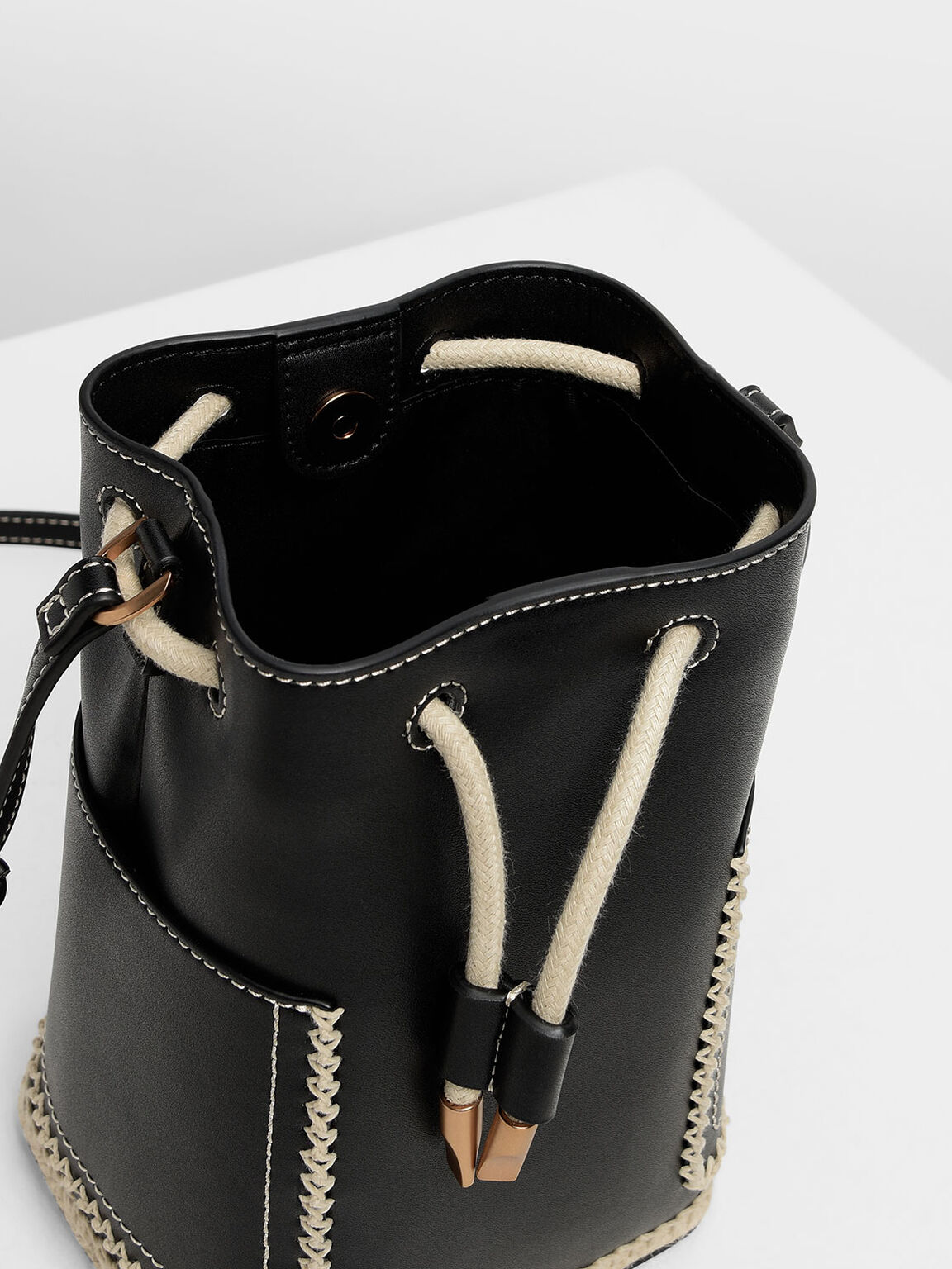 Whipstitch Trim Bucket Bag, Black, hi-res