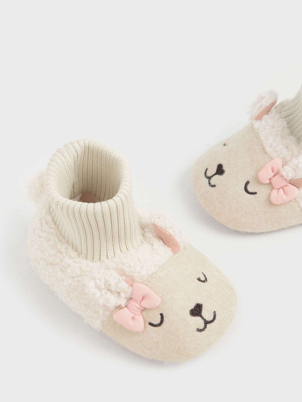 Baby Girls' Nellie The Lamb Furry Booties, Beige, hi-res