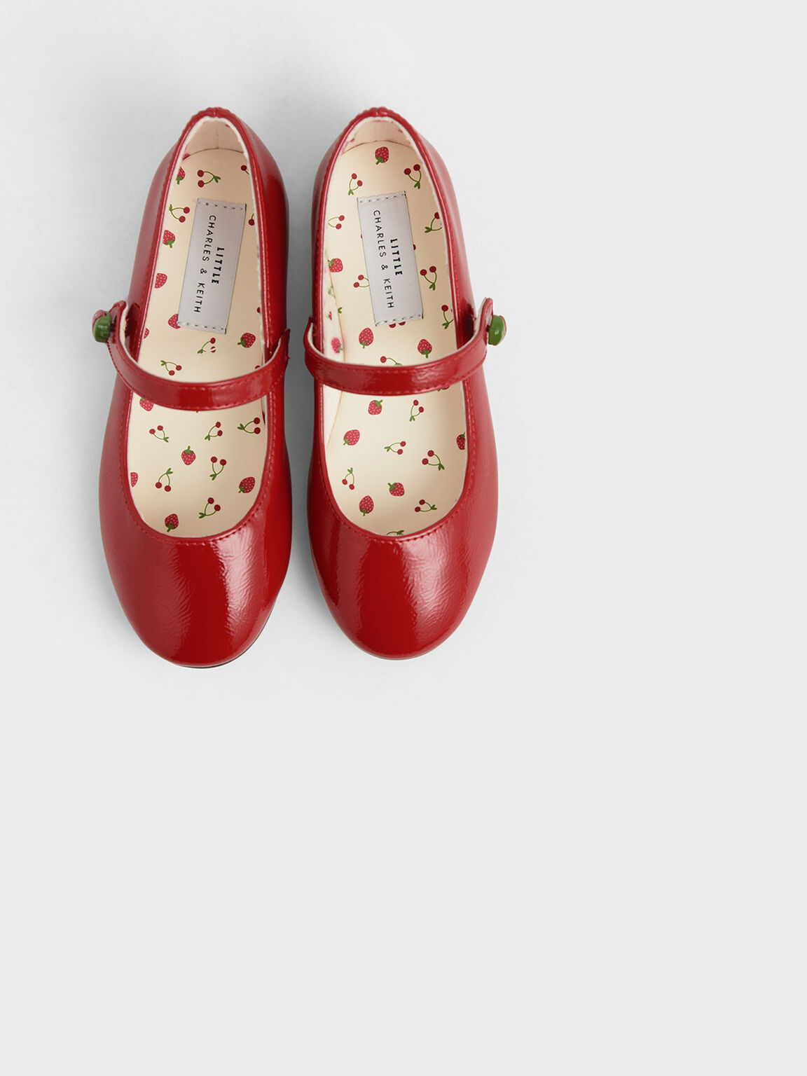 Girls' Strawberry Wrinkled Patent Mary Jane Flats, Red, hi-res