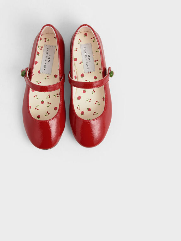 Girls' Strawberry Wrinkled Patent Mary Jane Flats, Red