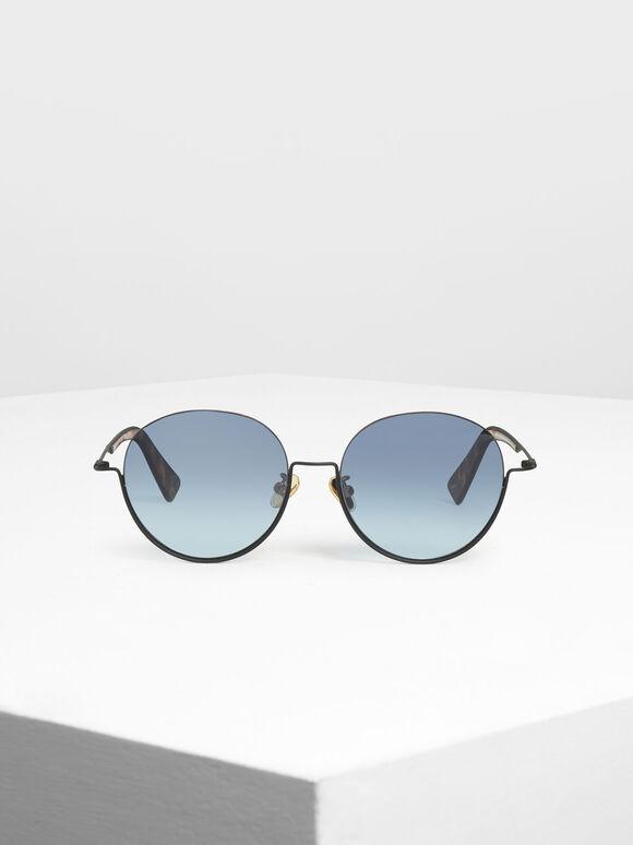 Half Frame Round Sunglasses, Black, hi-res