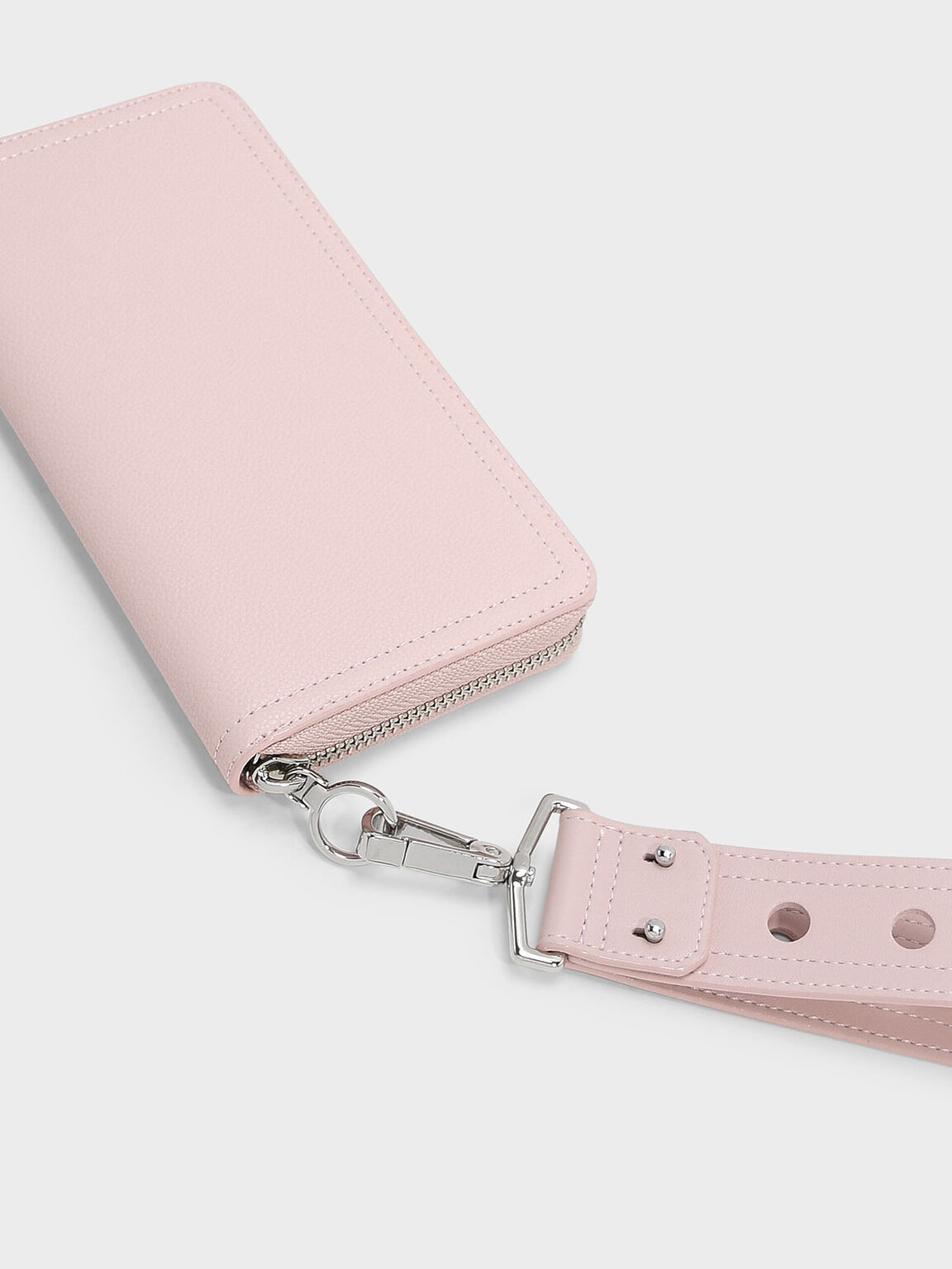 Cut Out Detail Wristlet Strap Wallet, Blush, hi-res