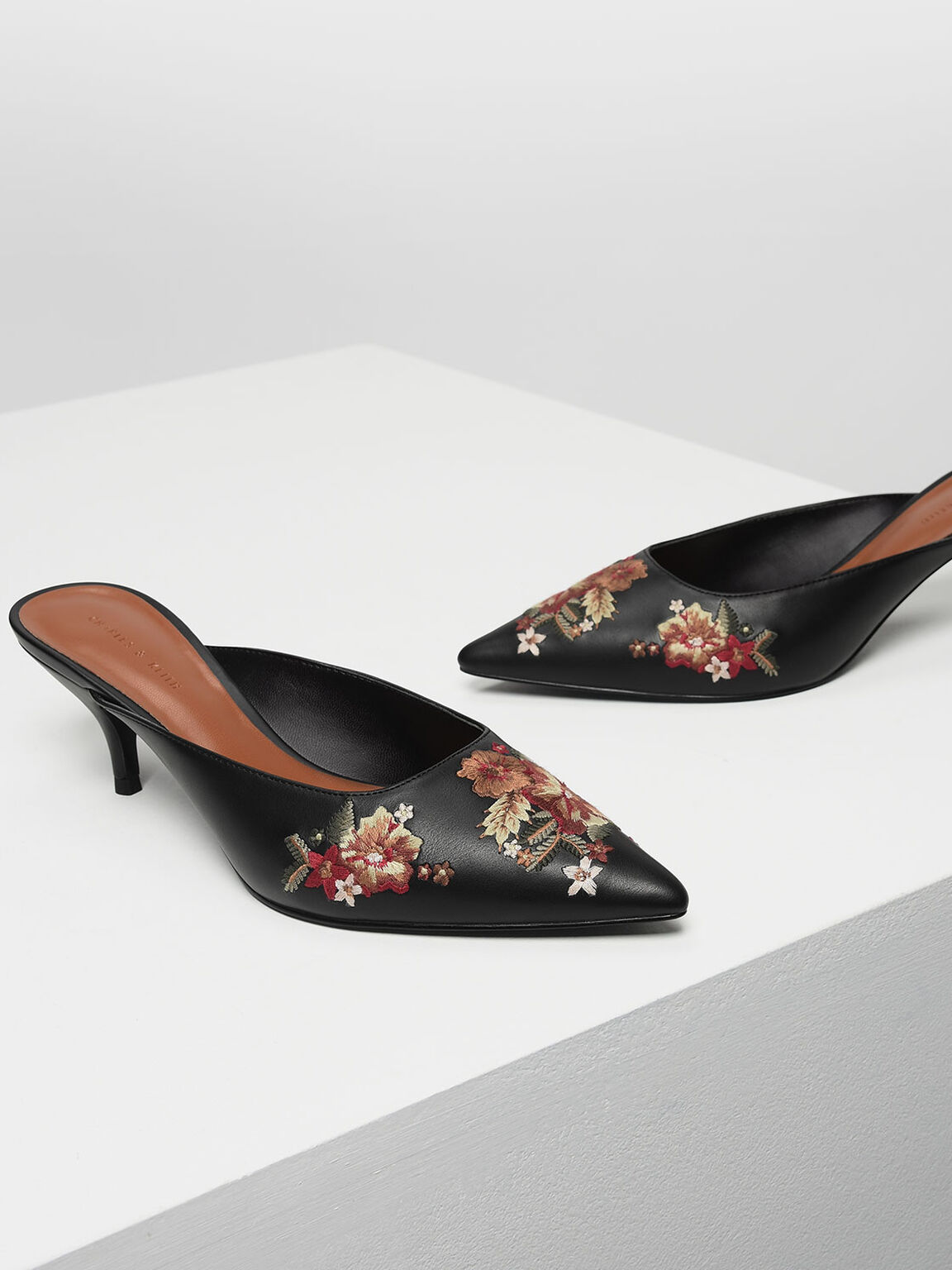 Floral Embroidery Mules, Black, hi-res