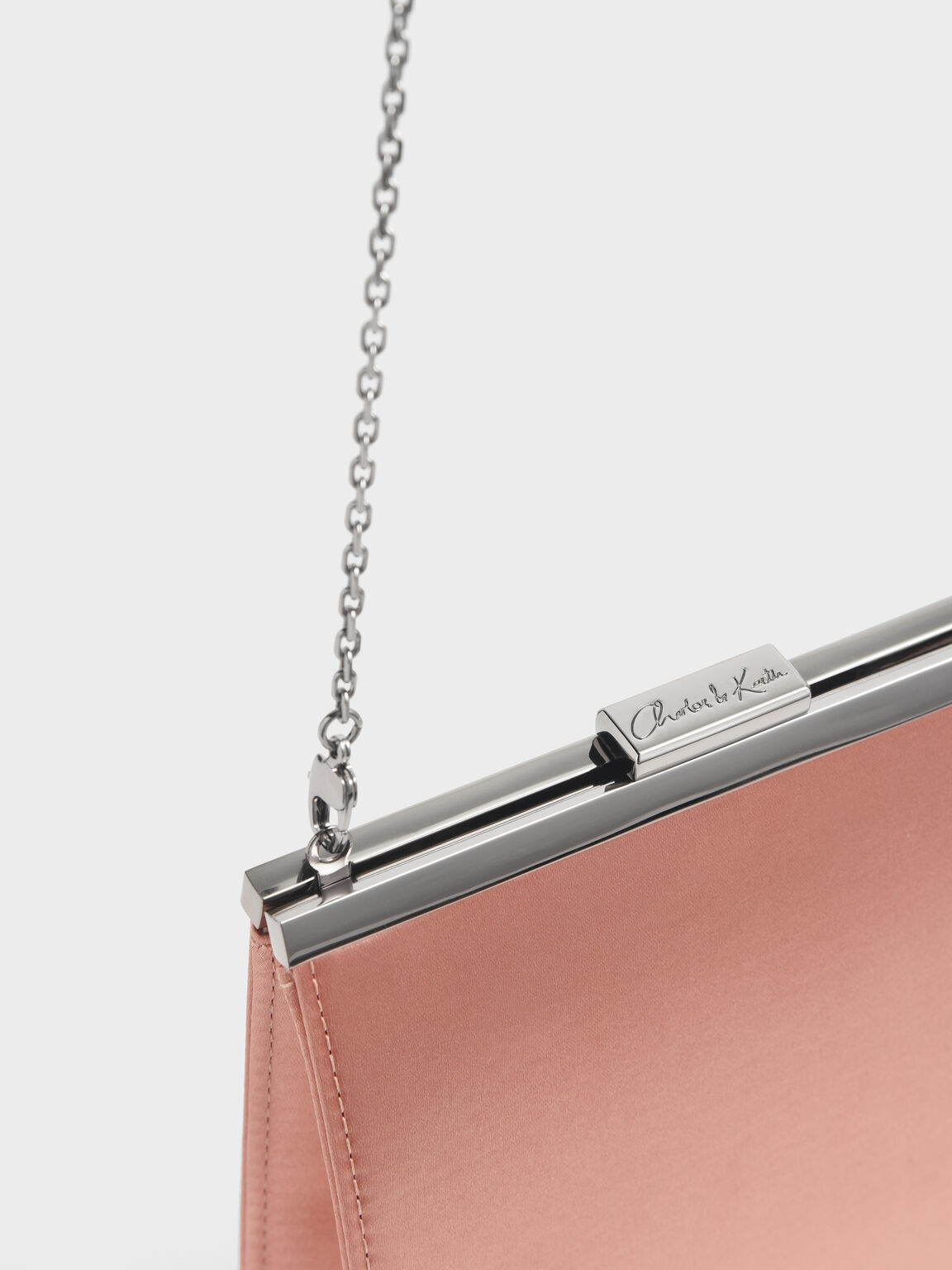 Satin Boxy Clutch, Blush, hi-res