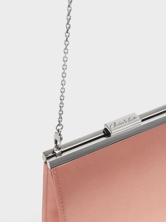 Satin Boxy Clutch, Blush