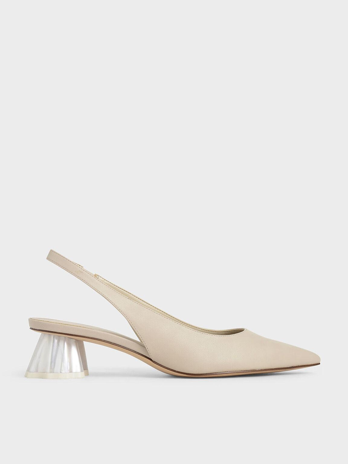 貝殼跟尖頭鞋, 米黃色, hi-res