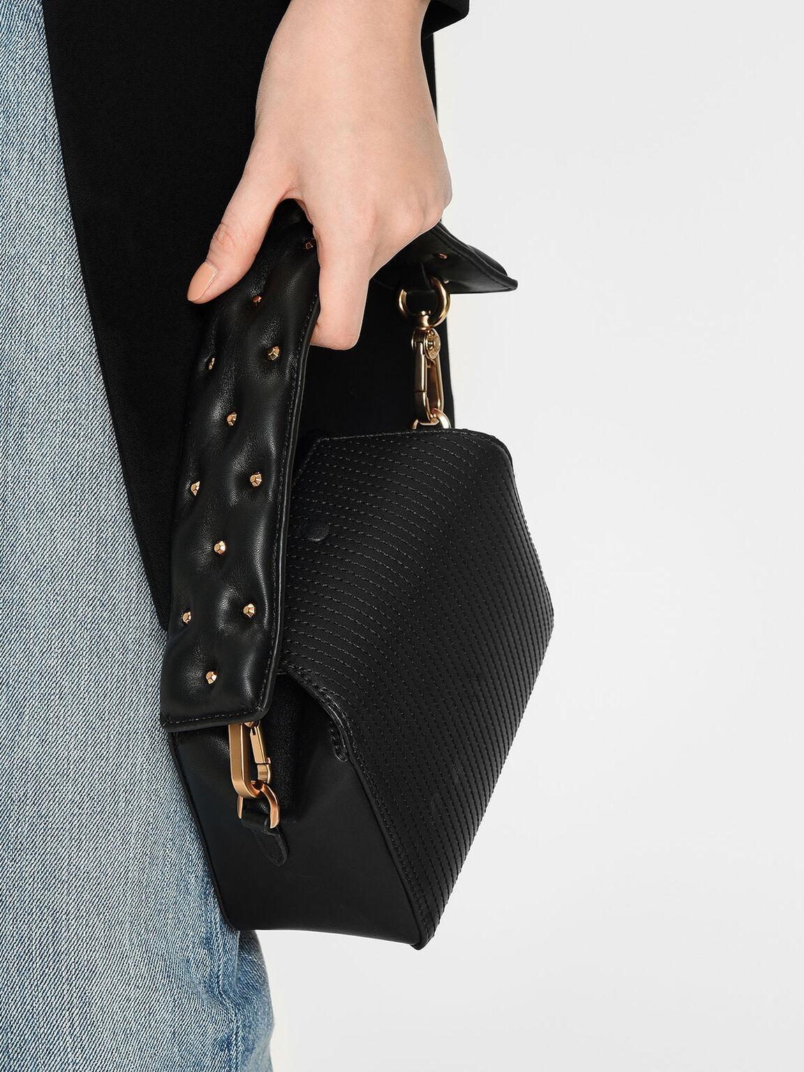 Embellished Wide Mini Strap, Black, hi-res