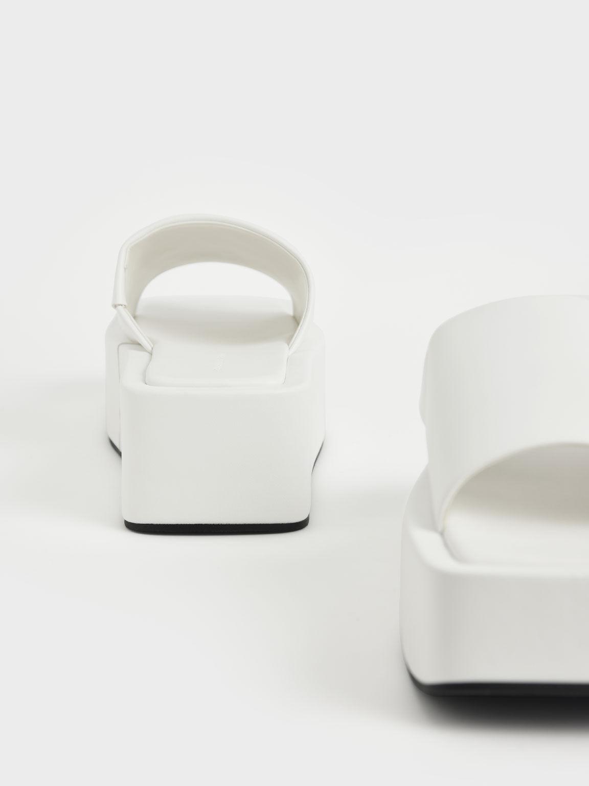 方頭厚底拖鞋, 白色, hi-res