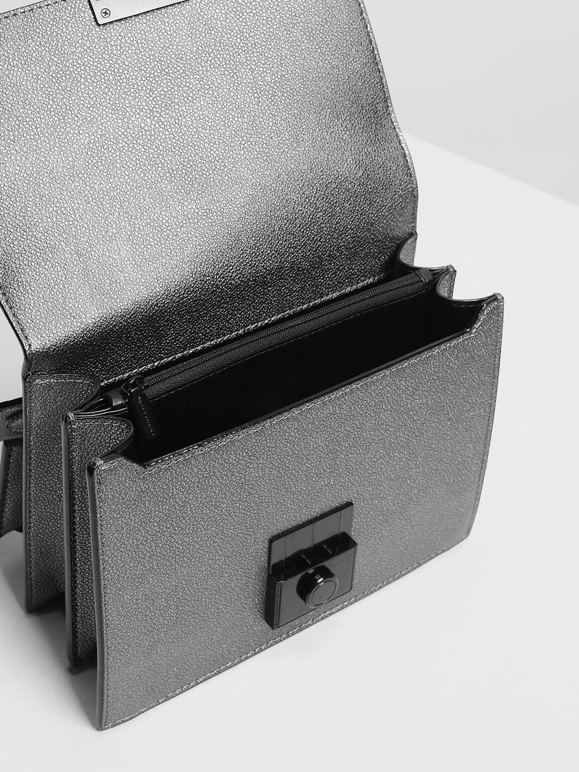 Structured Crossbody Bag, Pewter, hi-res