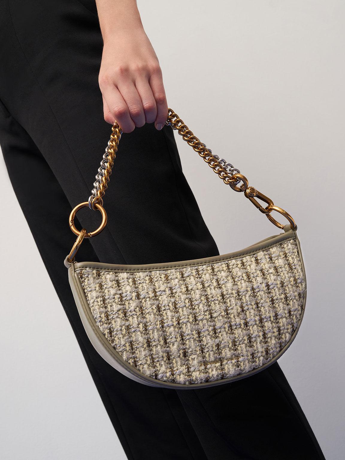 Tweed Crescent Crossbody Bag, Taupe, hi-res