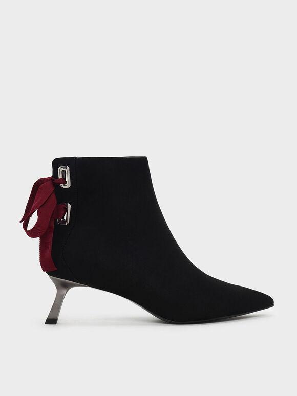 緞帶細跟短靴, 黑色, hi-res