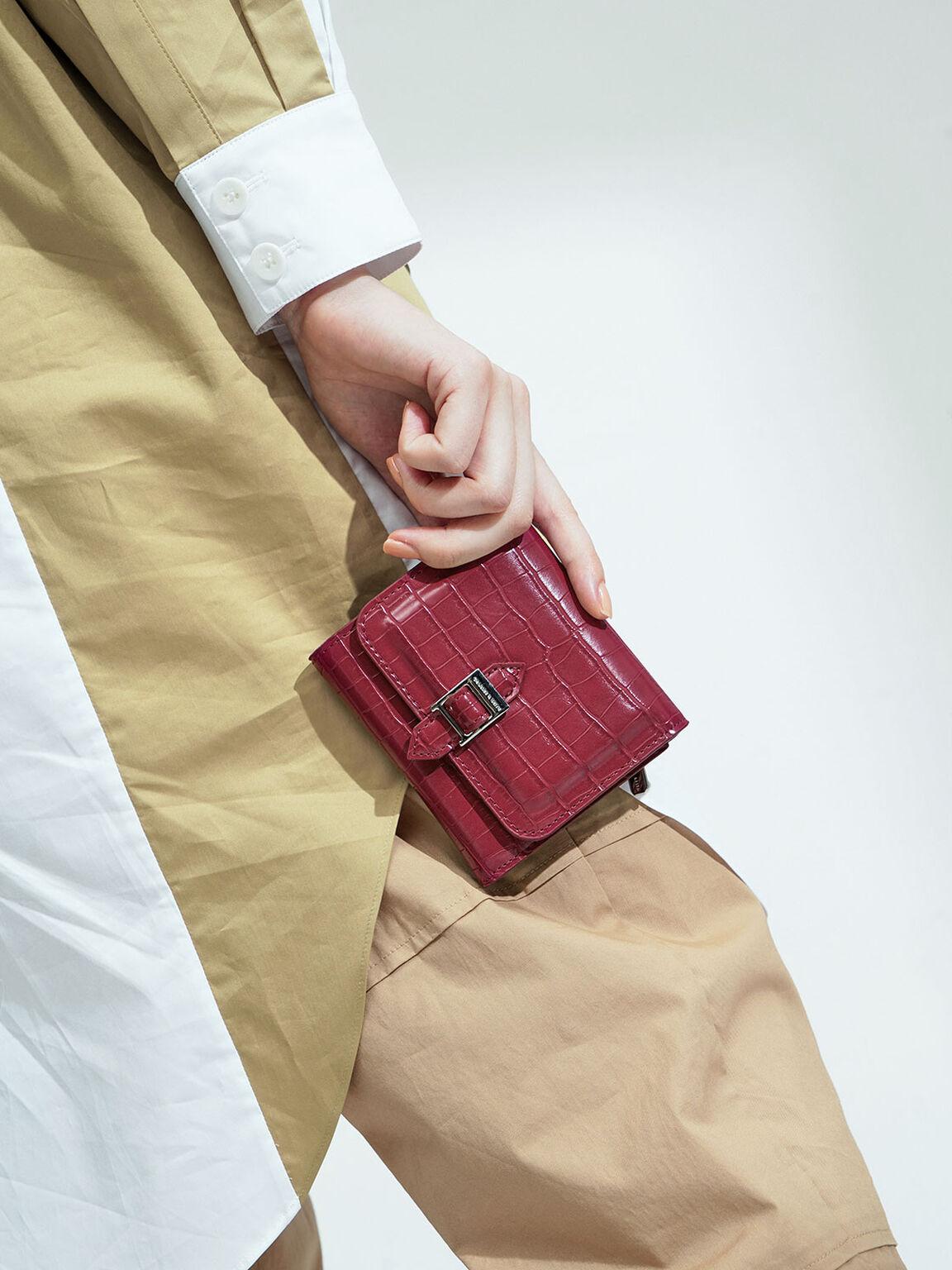 Croc-Effect Buckle Strap Short Wallet, Berry, hi-res
