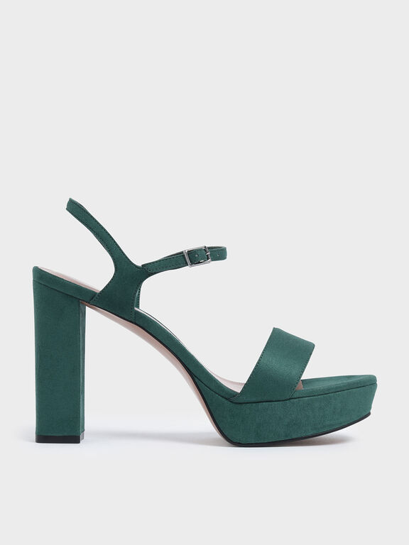 Textured Chunky Platform Heels, Green