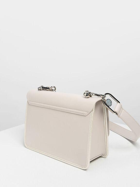 Scallop Edge Front Flap Bag, Pearl, hi-res