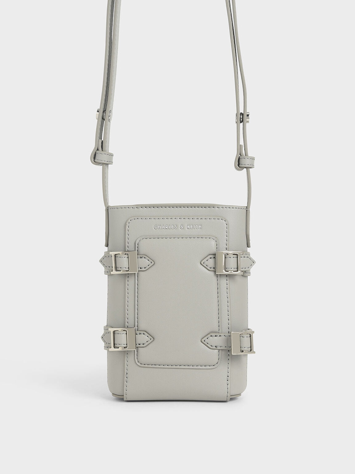 Small Buckle Bucket Bag, Grey, hi-res