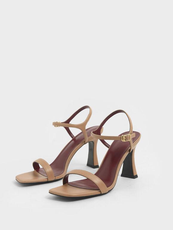 Sculptural Heel Sandals, Nude, hi-res