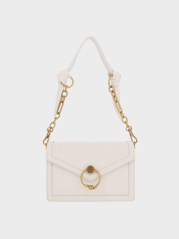 Ring Push-Lock Envelope Shoulder Bag, Cream, hi-res
