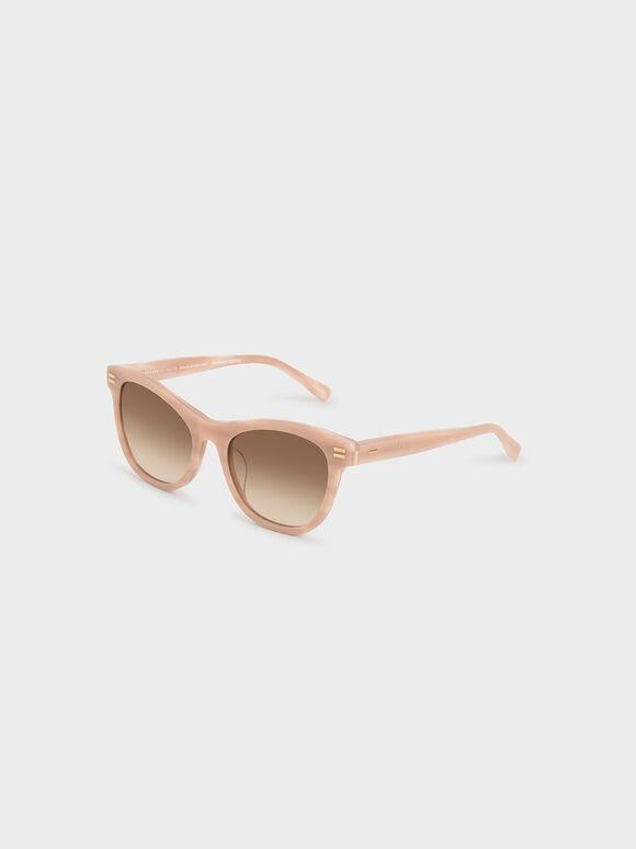 Acetate Rectangular Sunglasses, Taupe, hi-res