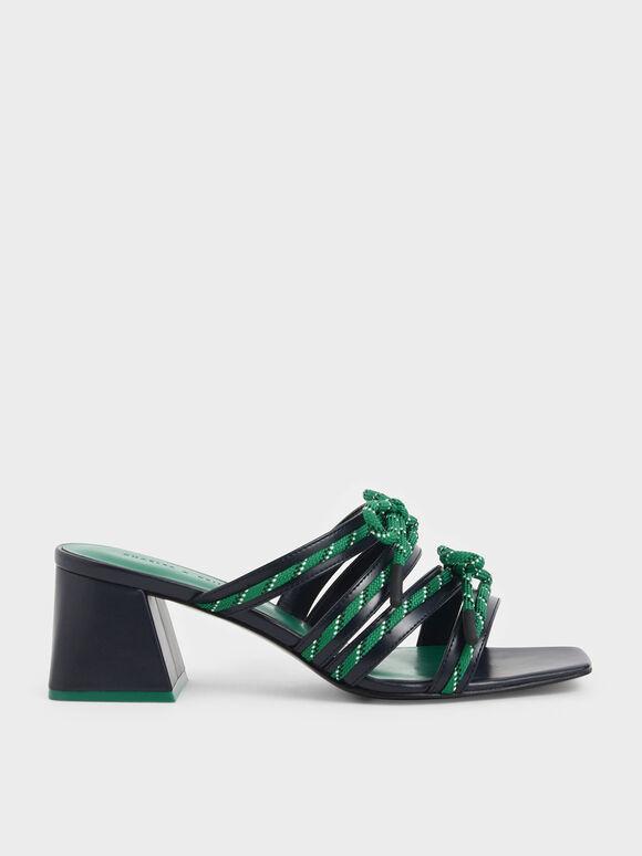 Nylon Lace Strap Slide Sandals, Dark Blue, hi-res