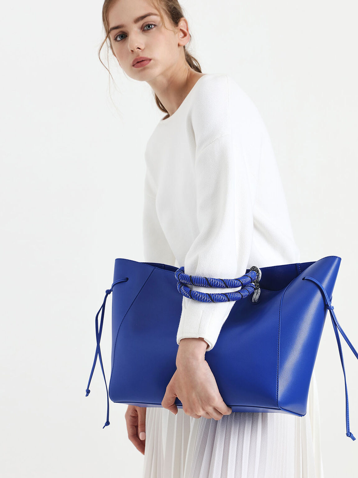 Nylon Twist Tote Bag, Blue, hi-res