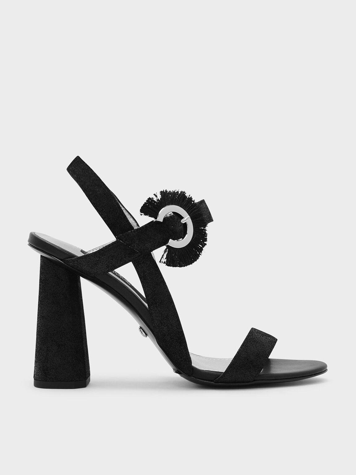 Fringe Detail Buckle Leather Sandals, 블랙, hi-res