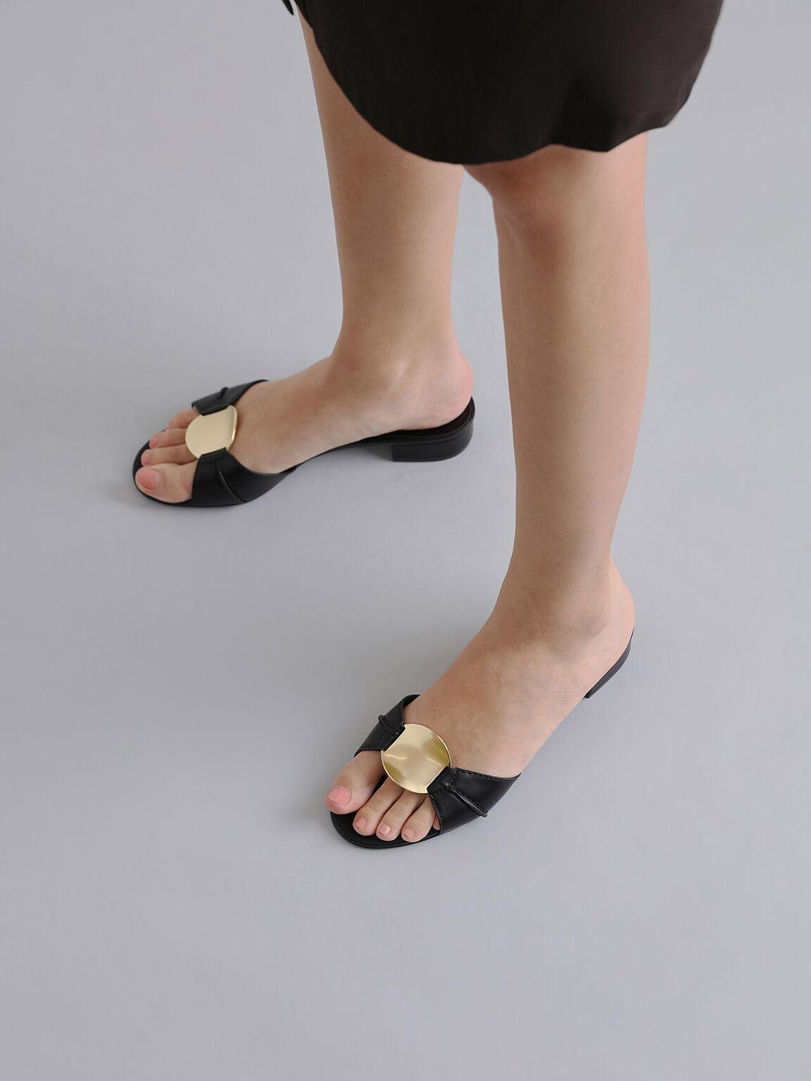 Metal Accent Slide Sandals, Black, hi-res