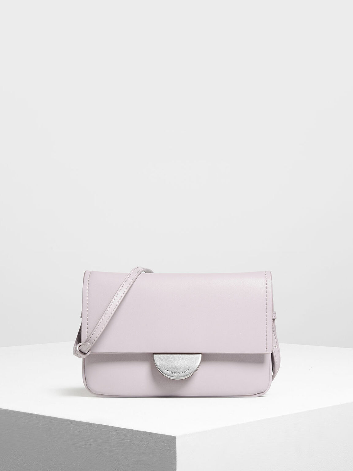 Metallic Accent Push Lock Pouch, Lilac, hi-res
