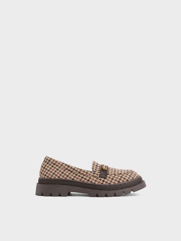 兒童千鳥紋厚底樂福鞋, 混色, hi-res