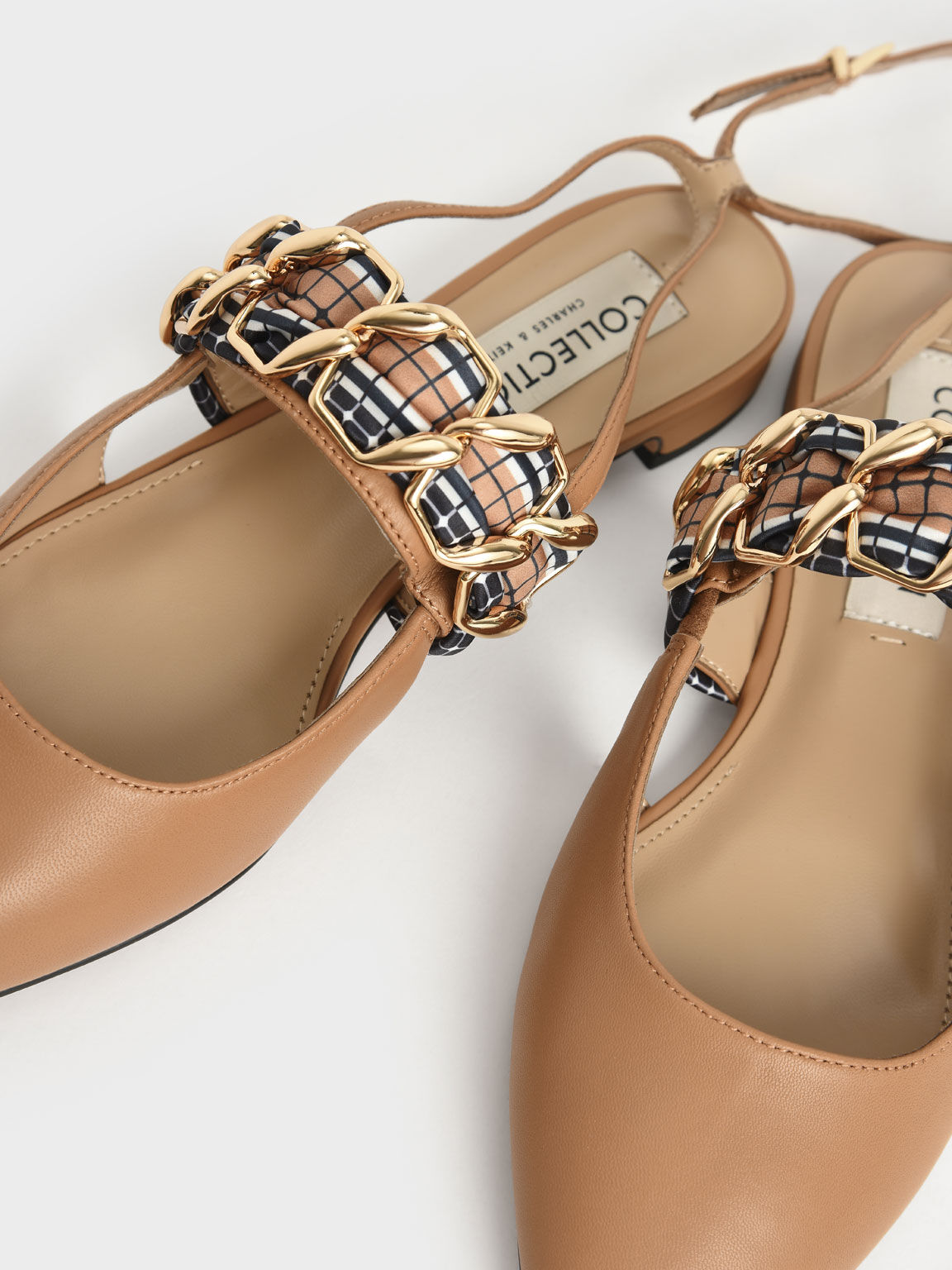 金屬編織真皮尖頭鞋, 焦糖色, hi-res
