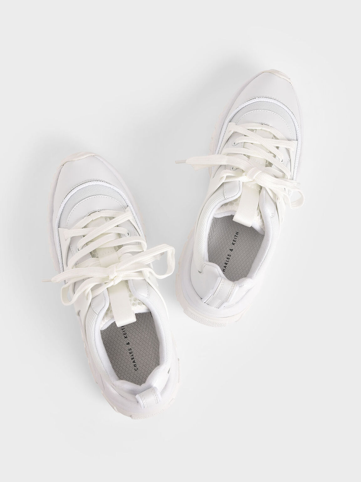 Mesh & Netting Chunky Sneakers, White, hi-res