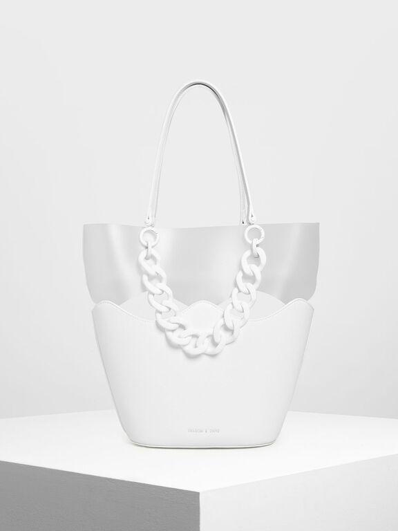 Chunky Chain Tote Bag, White