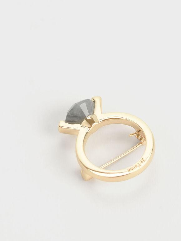Labradorite Stone Ring Brooch, Gold, hi-res