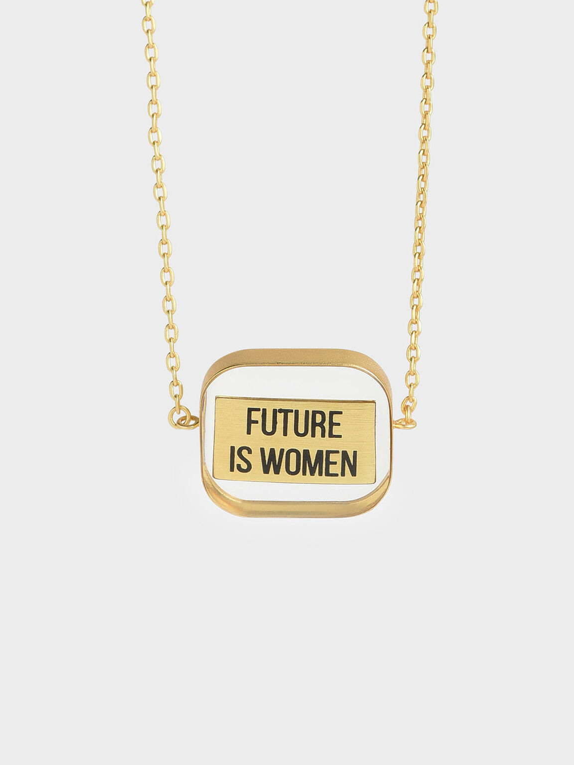 """FUTURE IS WOMEN"" Acrylic Necklace, Bronze, hi-res"