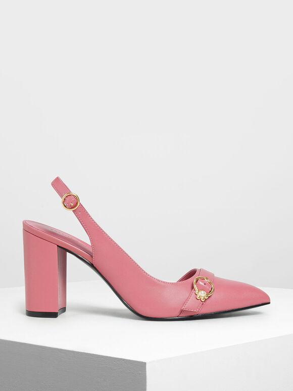 Embellished Asymmetrical Heels, Pink, hi-res