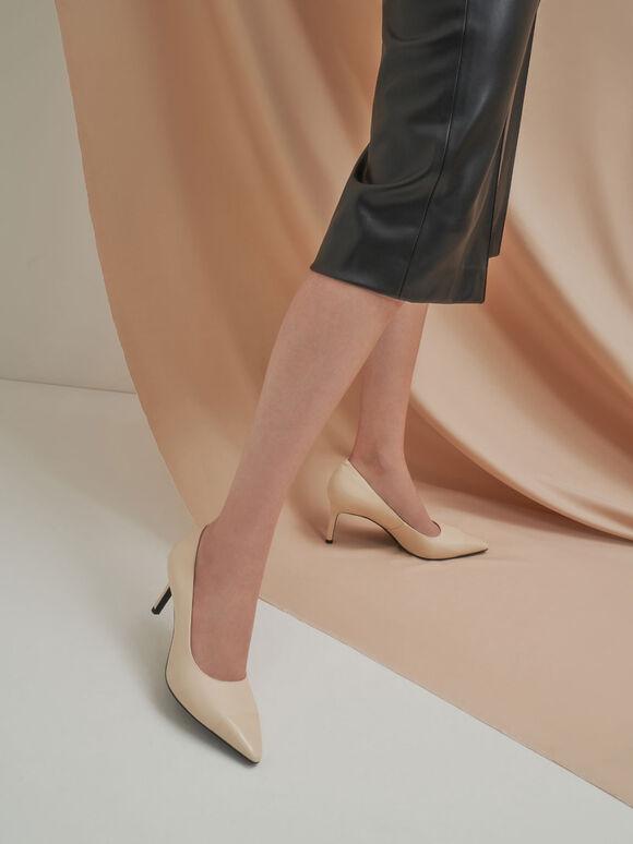 拼接尖頭高跟鞋, 石灰白, hi-res