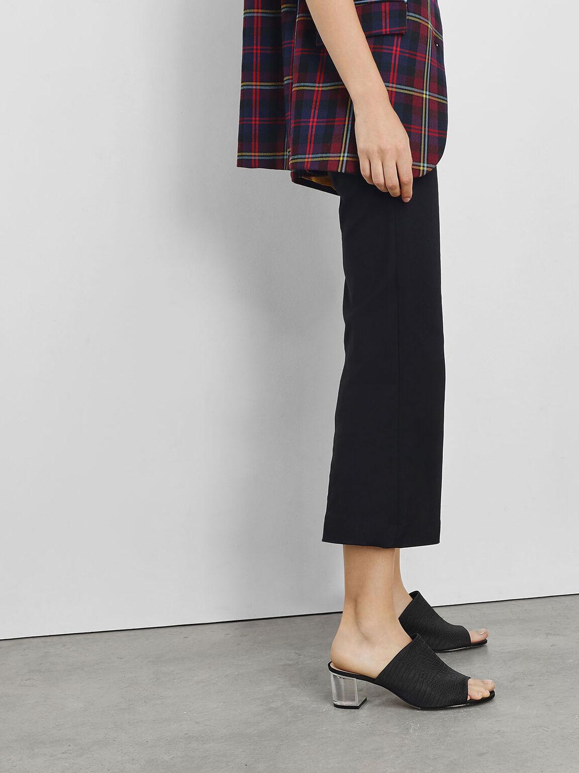 Embossed Fabric Heeled Slide Sandals, Black, hi-res